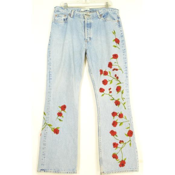 GAP Denim - Gap jeans vintage LG beaded roses embroidered stem